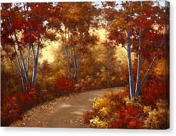 Golden Birch Canvas Print by Diane Romanello