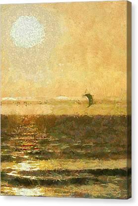 Golden Day Painterly Canvas Print by Ernie Echols