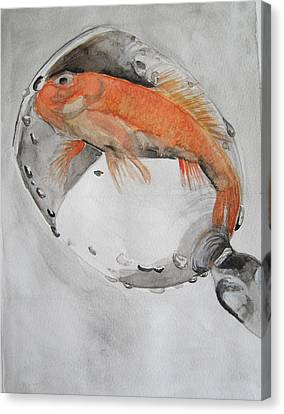 Golden Fish - One Wish Canvas Print by Ema Dolinar Lovsin