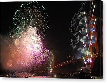 Golden Gate Bridge 75th Anniversary Fireworks Canvas Print by Michael Meinberg