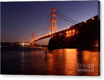 Golden Gate Bridge At Night 2 Canvas Print by Bob Christopher