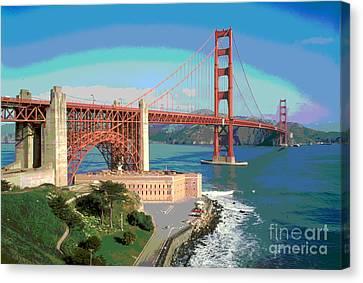 Golden Gate Bridge Bay Side Canvas Print by Padre Art