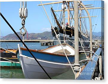 Golden Gate Bridge Through The Balclutha . A 1886 Square Rigged Cargo Ship At The Hyde Street Pier Canvas Print by Wingsdomain Art and Photography