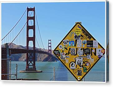 Golden Gate Stickers Canvas Print by Cedric Darrigrand