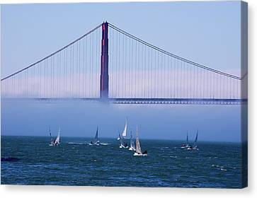 Canvas Print featuring the photograph Golden Gate Windsurfers by Don Schwartz