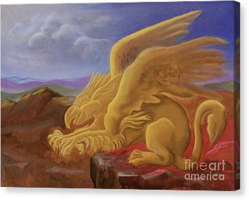 Golden Gryphon On Top Of The Alps Canvas Print by Evelyn Cammarano