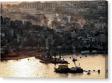 Golden Haze In Istanbul Canvas Print by John Rizzuto