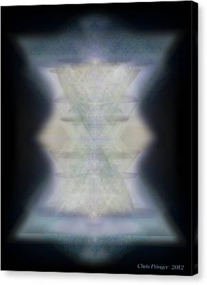 Canvas Print featuring the digital art Golden Light Chalices Emerging From Blue Vortex Myst by Christopher Pringer