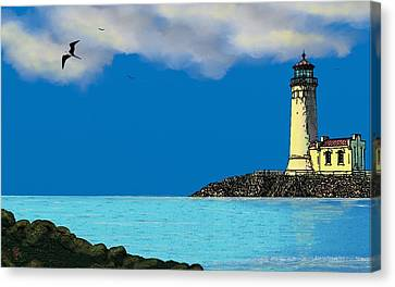 Golden Lighthouse Canvas Print by Tony Rodriguez