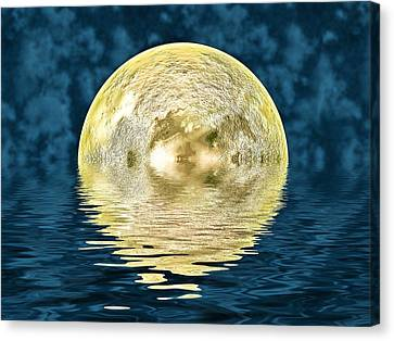 Reflecting Water Canvas Print - Golden Moon by Sharon Lisa Clarke