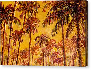 Canvas Print featuring the painting Golden Palm Trees by Lou Ann Bagnall
