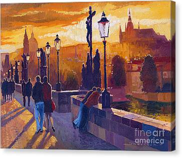 Golden Prague Charles Bridge Sunset Canvas Print by Yuriy  Shevchuk