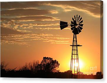 Golden Sky Windmill Sunset Silhouette Canvas Print