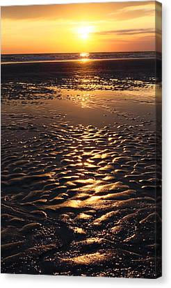 Golden Sunset On The Sand Beach Canvas Print by Setsiri Silapasuwanchai