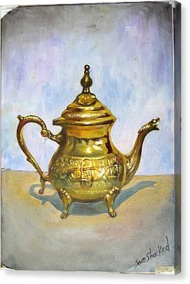 Golden Tea Kettle Canvas Print by Sam Shacked