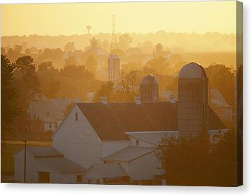 Golden Twilight Upon The Silos And Farm Canvas Print by Michael S. Lewis