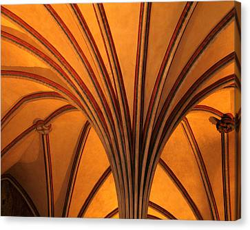 Golden Vaulted Ceiling In Malbork Castle II Canvas Print by Greg Matchick