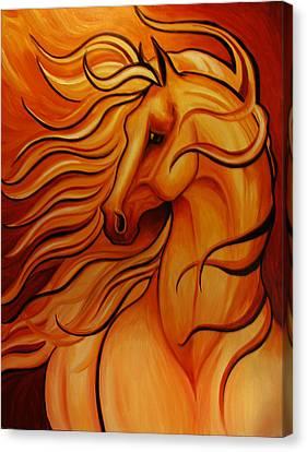 Golden Windblown Horse Canvas Print by Leni Tarleton