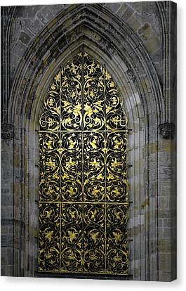 Golden Window - St Vitus Cathedral Prague Canvas Print by Christine Till