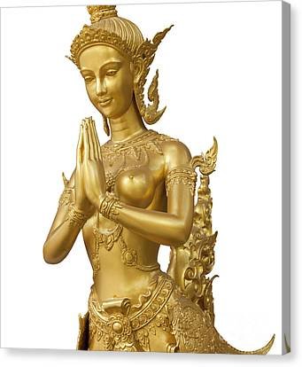 Goldent Ginnaree Statue Art Canvas Print by Anek Suwannaphoom