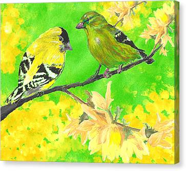 Goldfinches And Forsythia Canvas Print by Forrest C Greenslade PhD