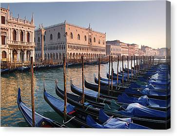 Gondolas Docked Outside Of Piazza San Canvas Print by Jim Richardson