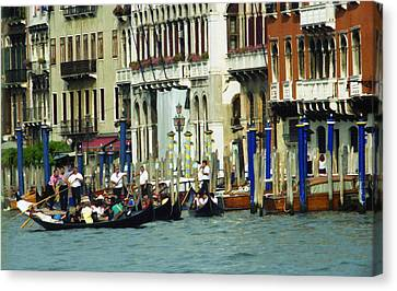 Canvas Print featuring the photograph Gondolas In Venice by Emanuel Tanjala