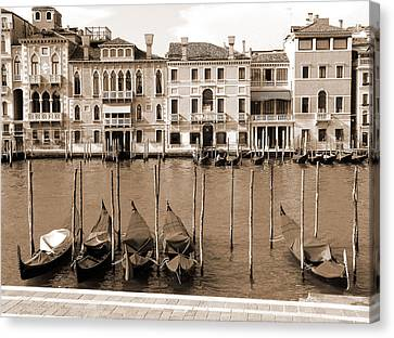 Canvas Print featuring the photograph Gondolas Outside Salute by Donna Corless