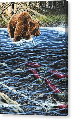 Canvas Print featuring the painting Gone Fishing by Kurt Jacobson