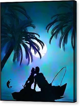 Canvas Print featuring the digital art Gone Fishing by Mary Morawska