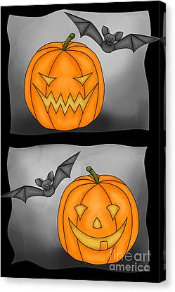 Good Pumpkin - Bad Pumpkin Canvas Print by Claudia Pflicke