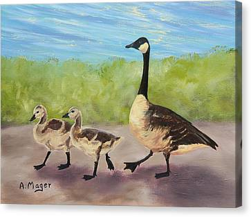 Goose Step Canvas Print by Alan Mager