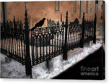 Gothic Cemetery Raven Canvas Print by Kathy Fornal