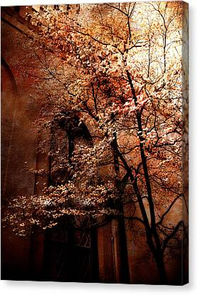 Gothic Surreal Haunting Trees Church Yard Autumn Fall  Canvas Print by Kathy Fornal