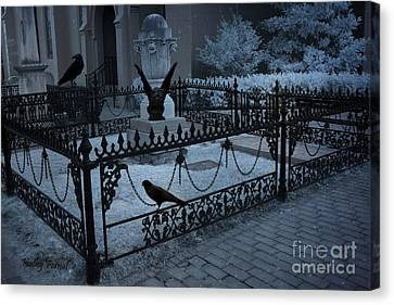 Gothic Surreal Night Gargoyle And Ravens - Moonlit Cemetery With Gargoyles Ravens Canvas Print by Kathy Fornal