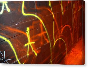 Graffiti On A Garage Door In San Canvas Print by Raymond Gehman