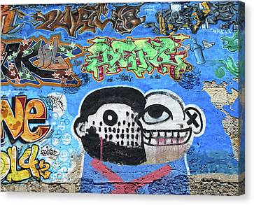 Canvas Print featuring the photograph Graffiti Provence France by Dave Mills