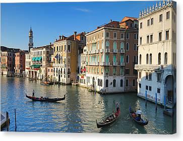 Grand Canal From Rialto Bridge, Venice Canvas Print by Chris Hepburn
