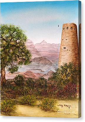 Grand Canyon Desert View Watch Tower Canvas Print by Judy Filarecki