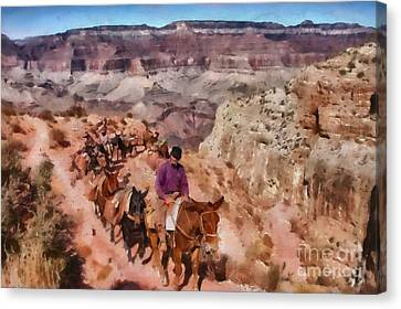 Grand Canyon Mule Packtrain Canvas Print by Mary Warner