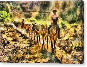 Grand Canyon Mules At The River Canvas Print by Mary Warner