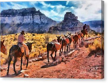 Grand Canyon Mules Heading Up The South Kaibab Trail Canvas Print by Mary Warner