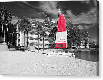 Grand Floridian Resort Beach Walt Disney World Prints Color Splash Black And White Canvas Print by Shawn O'Brien