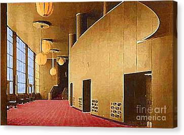 Grand Foyer In The Center Theatre In New York City 1940 Canvas Print by Dwight Goss