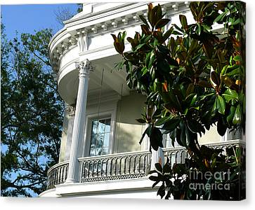 Canvas Print featuring the photograph Grand House With Magnolia Tree by Jeanne  Woods