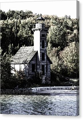 Grand Island Lighthouse Canvas Print by Anne Raczkowski