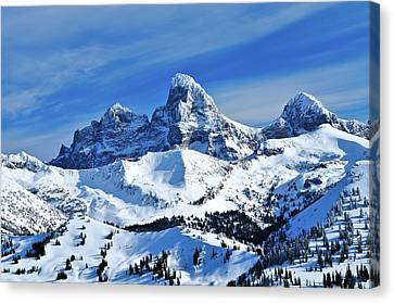 Grand Teton Winter Canvas Print by Greg Norrell
