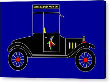 Grandma Duck Fruits Ltd - Virtual Car Canvas Print by Asbjorn Lonvig