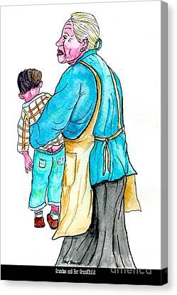 Grandma With Grand Child Canvas Print