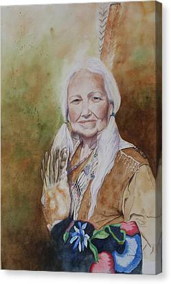 Native American Spirit Portrait Canvas Print - Grandmother Many Horses by Patsy Sharpe